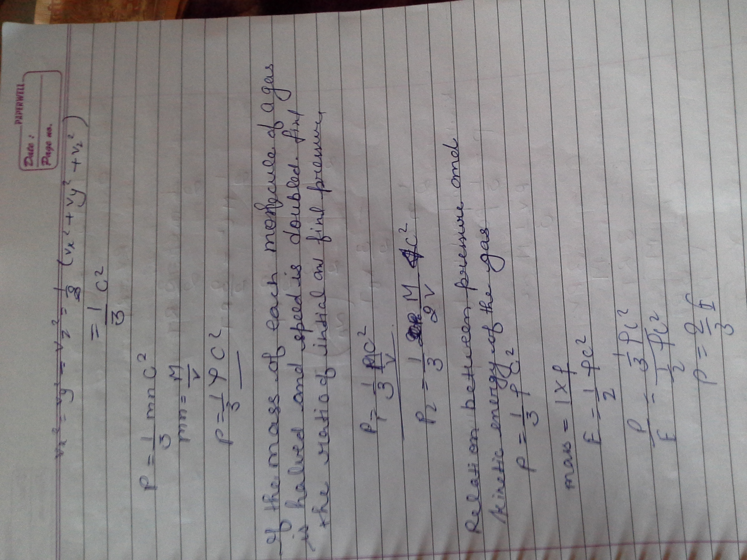 Starting From The Equation For The Pressure Exerted By A