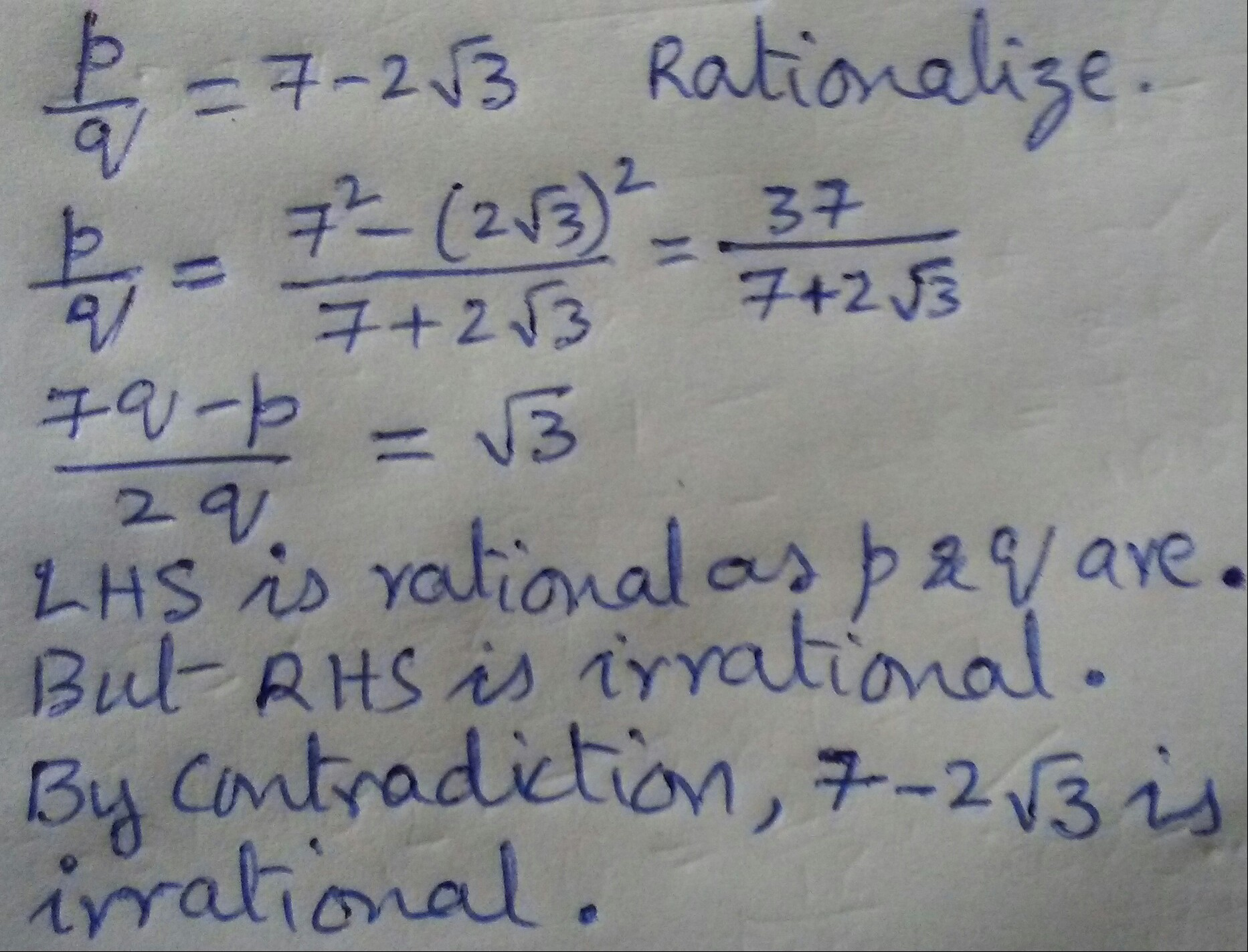 Prove That Root 3 Is Irrational Also Prove That 7 2 Root