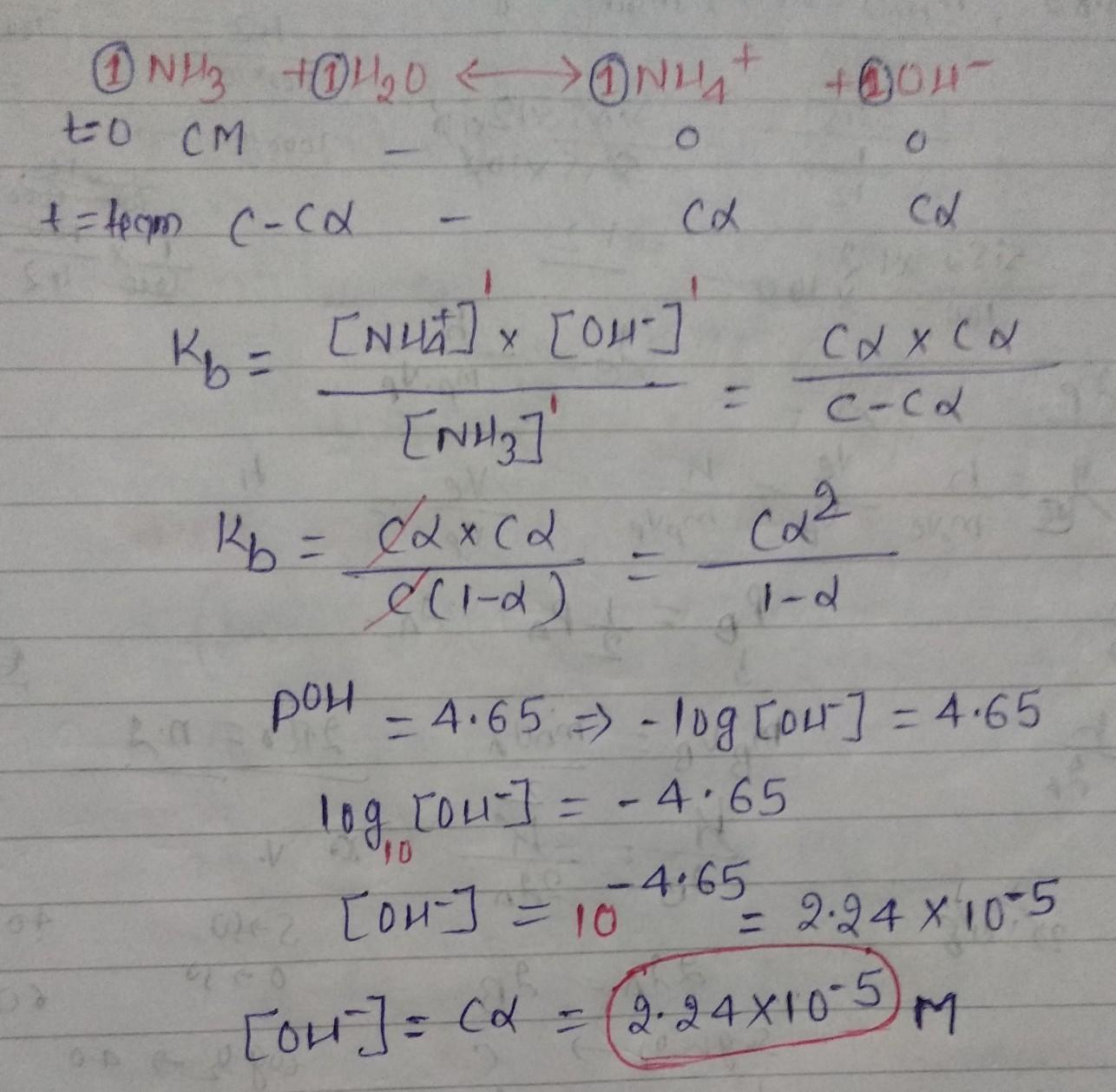 What is the hydroxide ion concentration in a solution of