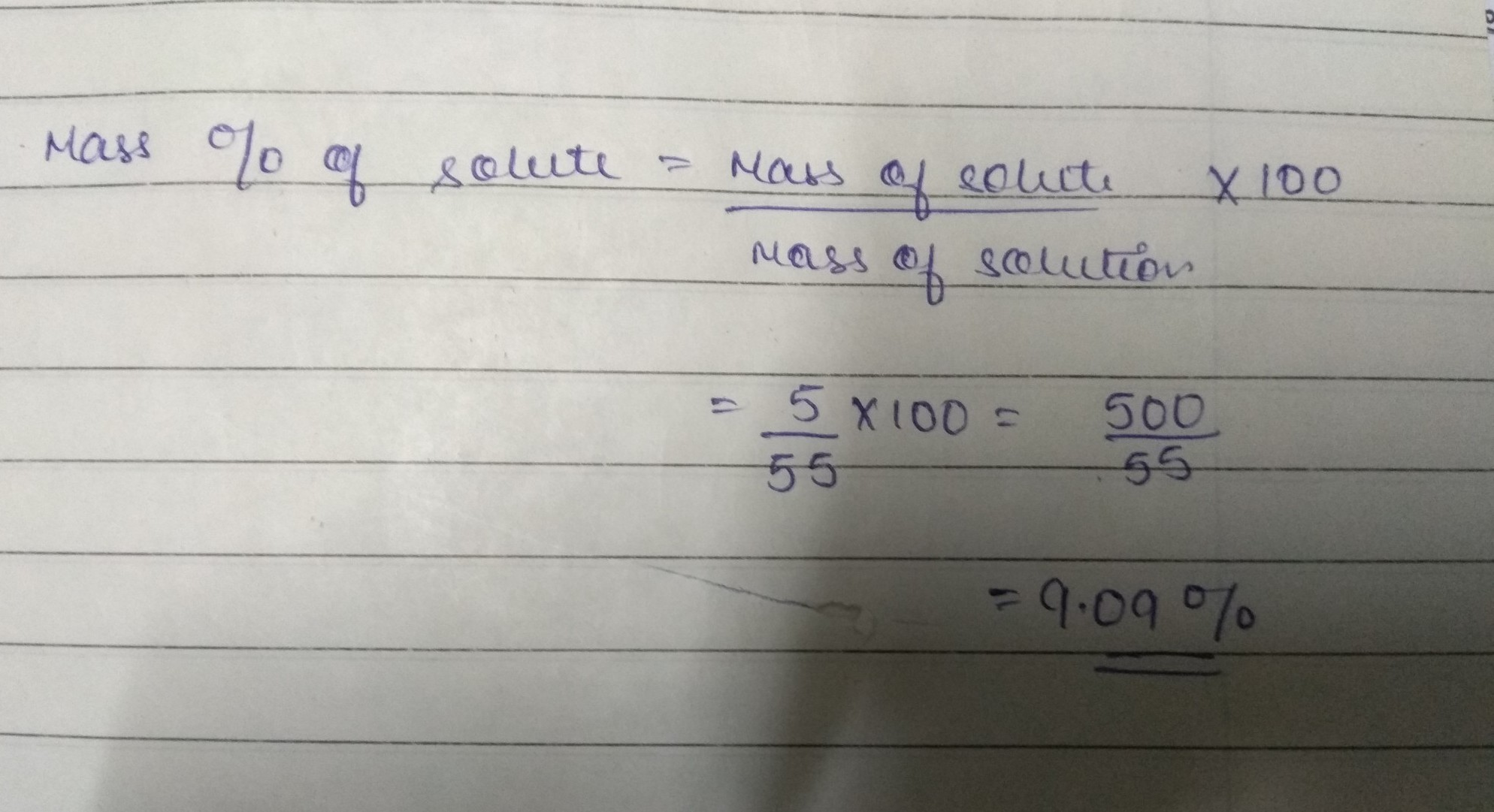 What Is The Mass Percent Of The Solute In The Solution