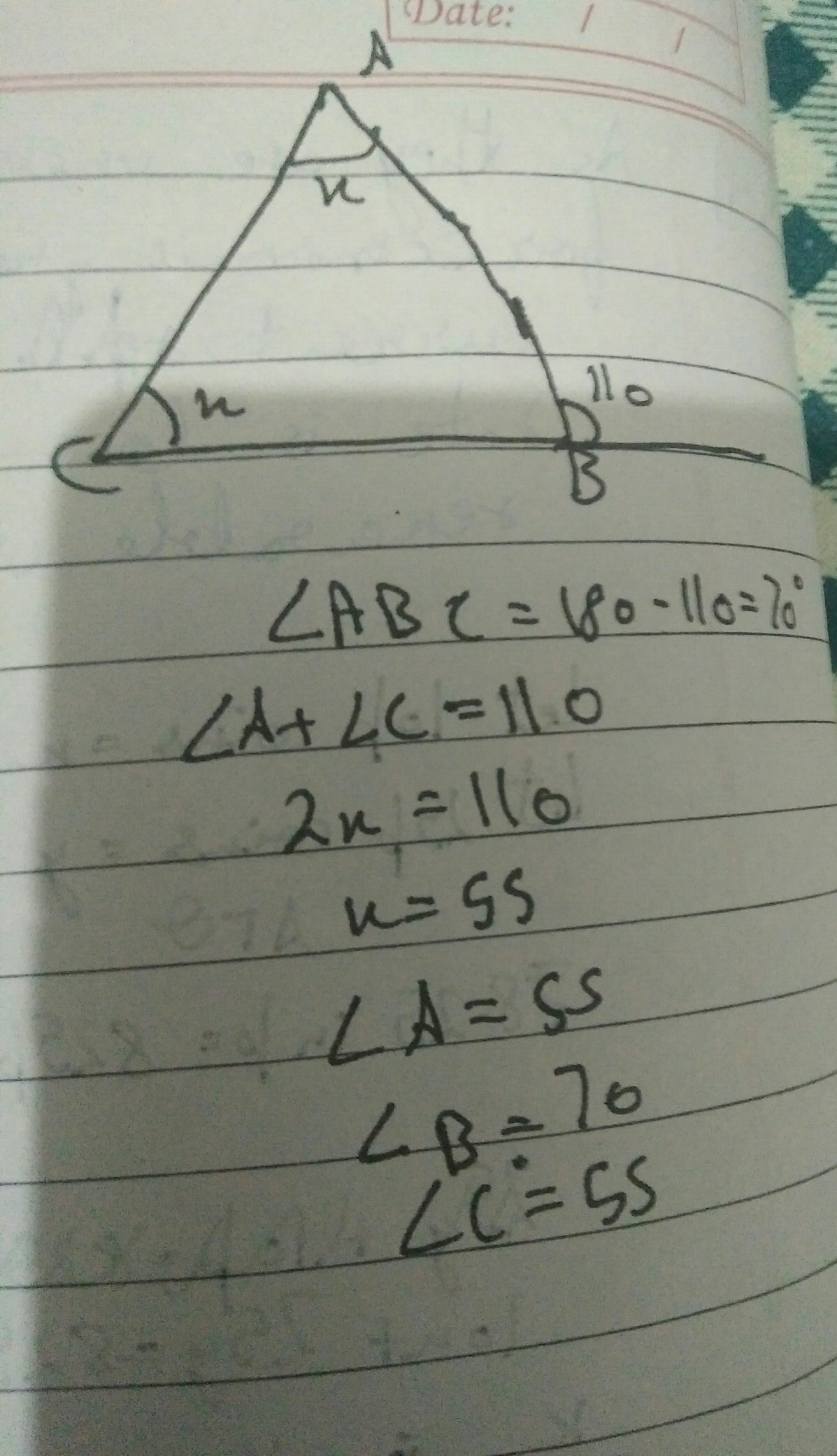 And Exterior Angle Of A Triangle Is 110 And Its Two