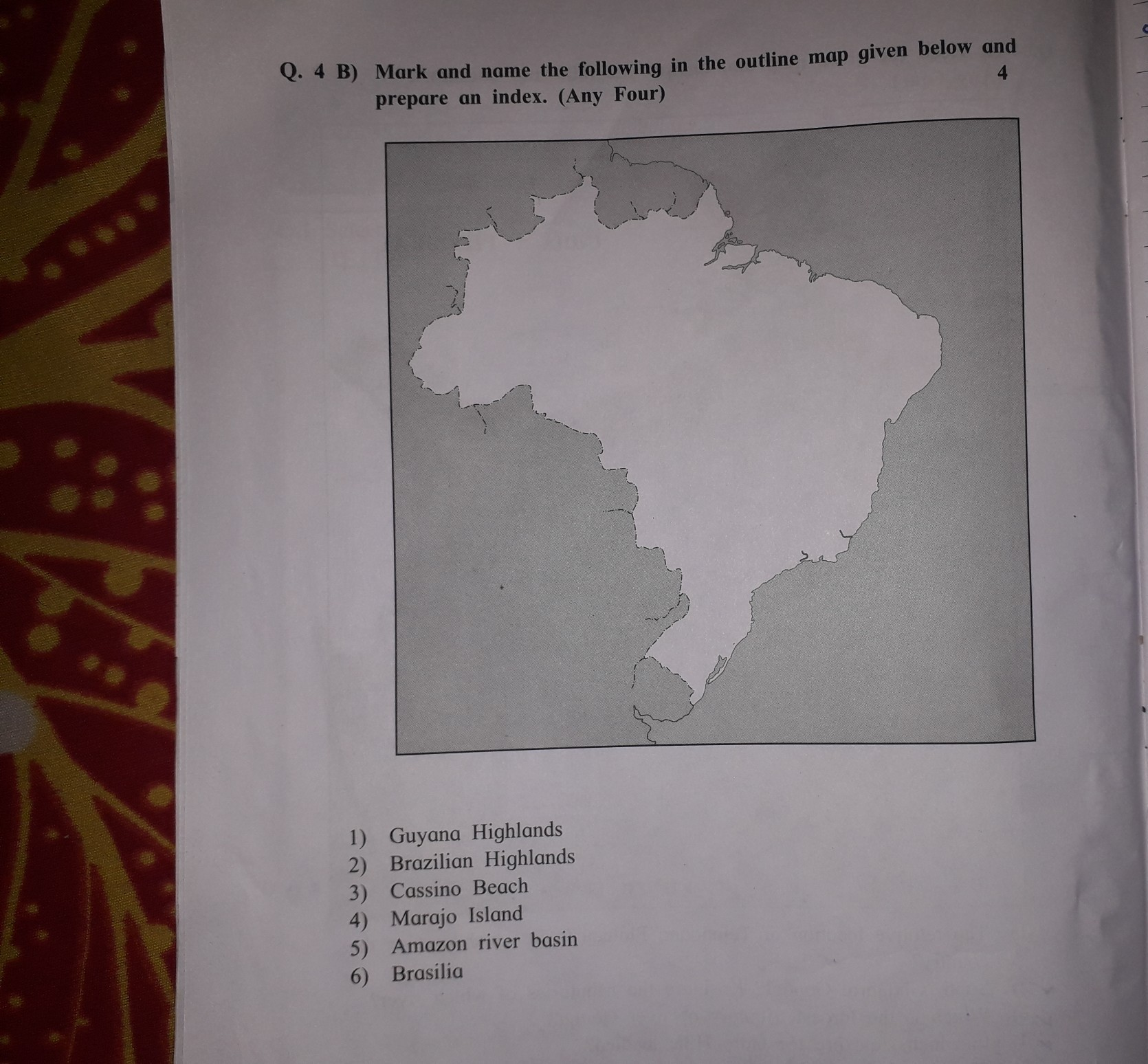 Mark And Name The Following In The Outline Map Given Below And Prepare An Index Any Four Brainly In