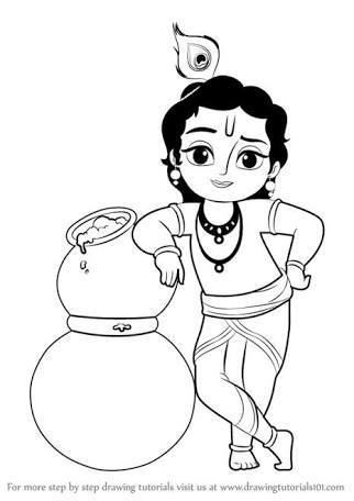 I want drawings for Janmashtami easy and beautiful lord