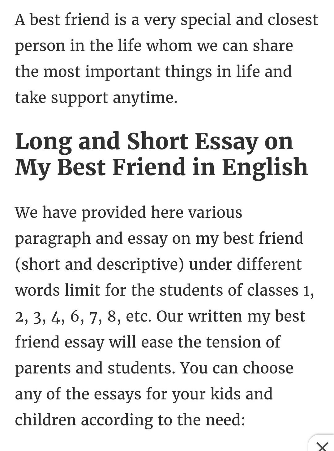 Essay On My Best Friend In English For Class 6 My Best