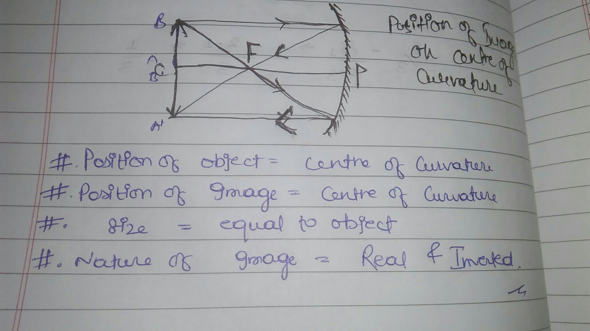 Draw The Ray Diagram And Also State The Position The