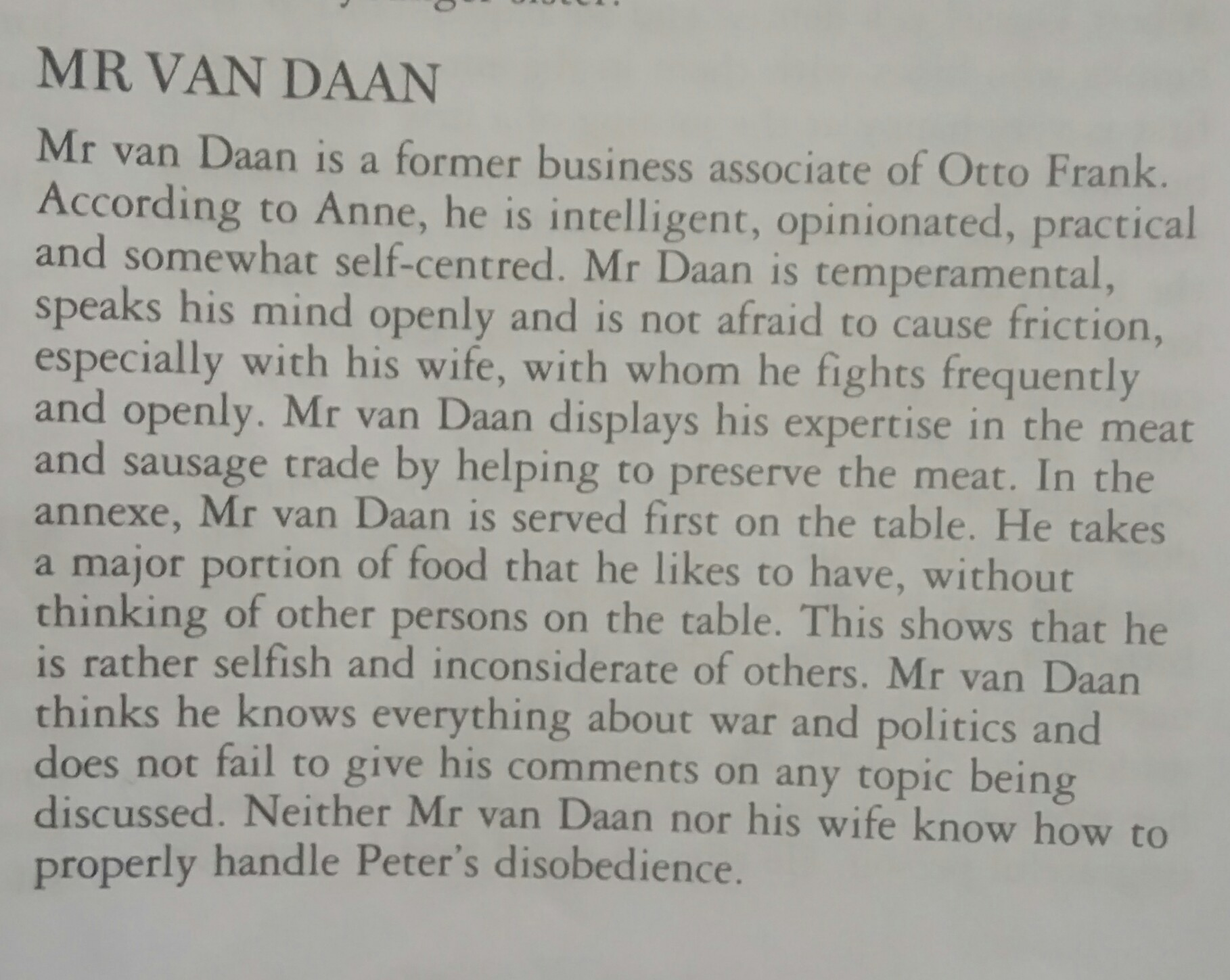 Write a character sketch of Mr Van Daan.(The Diary of a