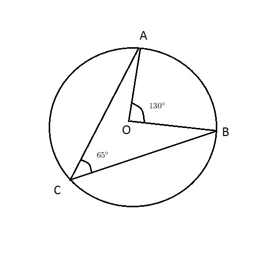 angle abc is inscribed in arc of circle with Centre O if