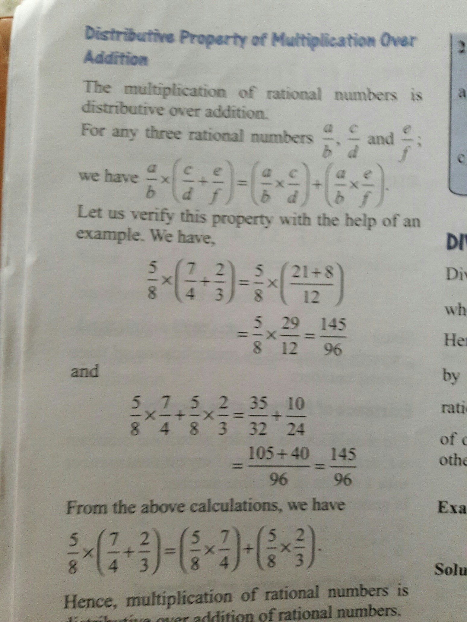 Distributive property of Multiplication over Addition