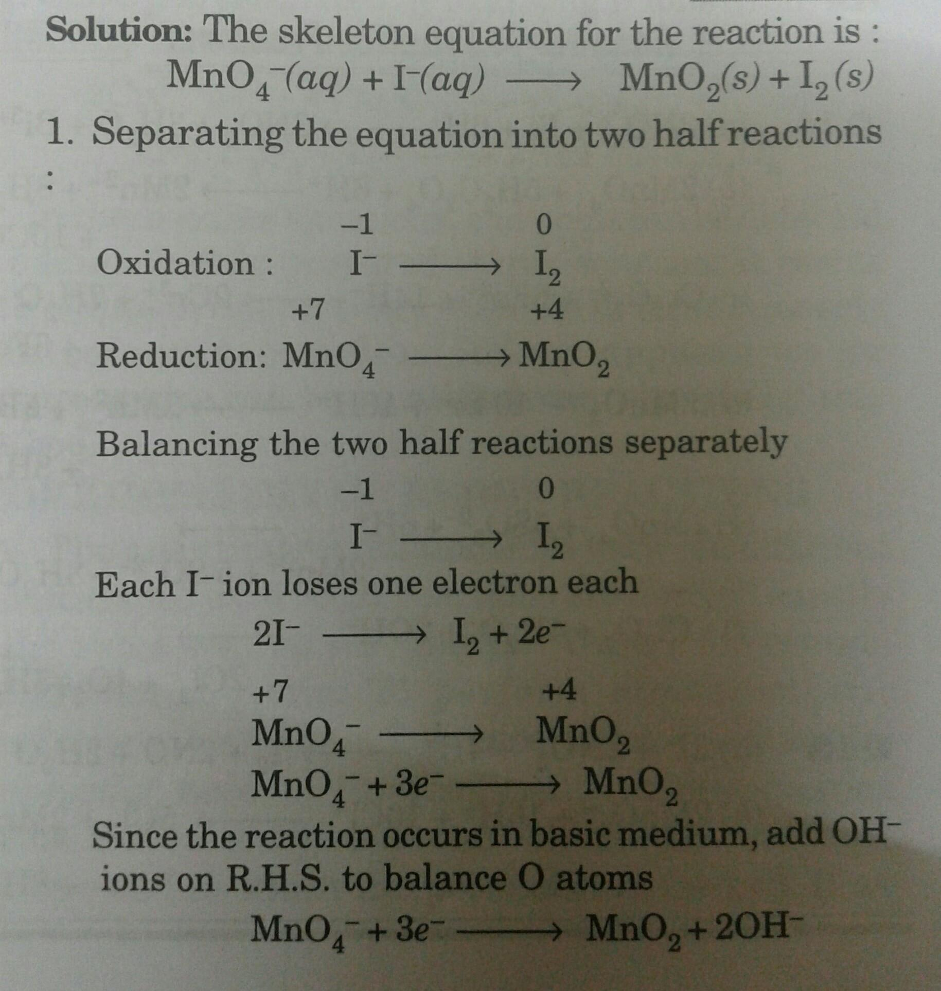 8 18 Balance The Following Redox Reactions By Ion