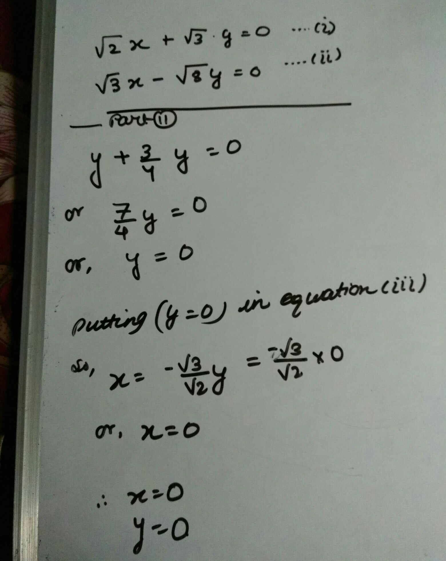 2x 3y 0 3x 8y 0 Solve The Following Pair Of Linear