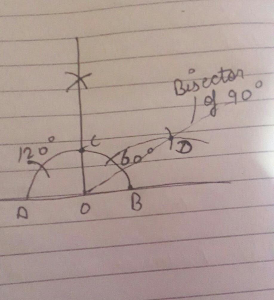 construct angle of 90 degree and bisect