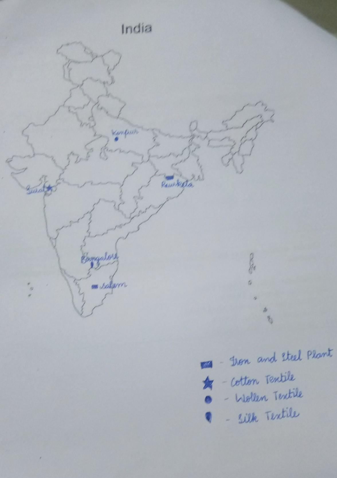 On the outline map of India locate and label the following