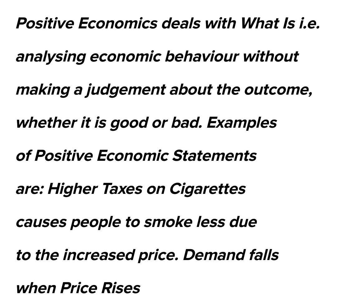 What is positive economics give two examples of positive