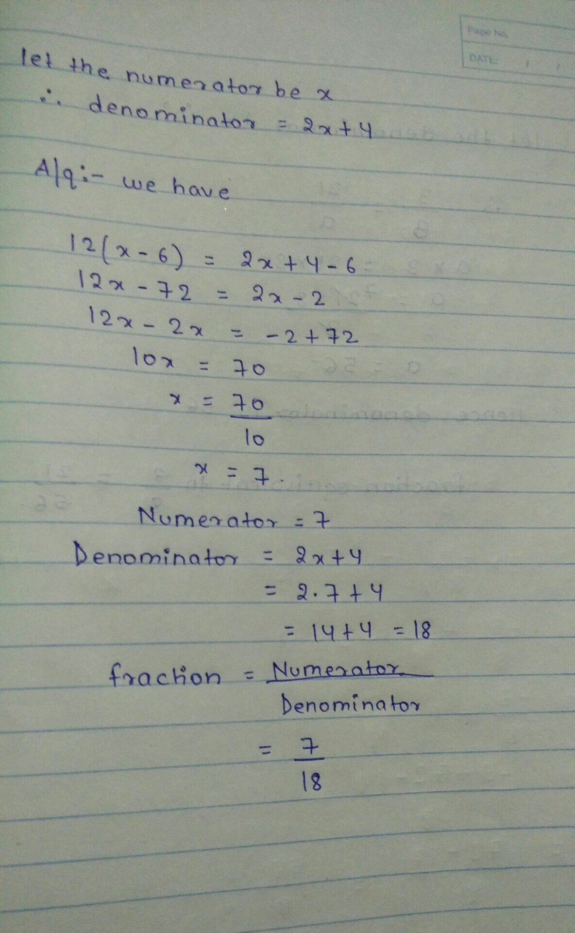 The Denominator Of A Fraction Is 4 More Than Twice Its