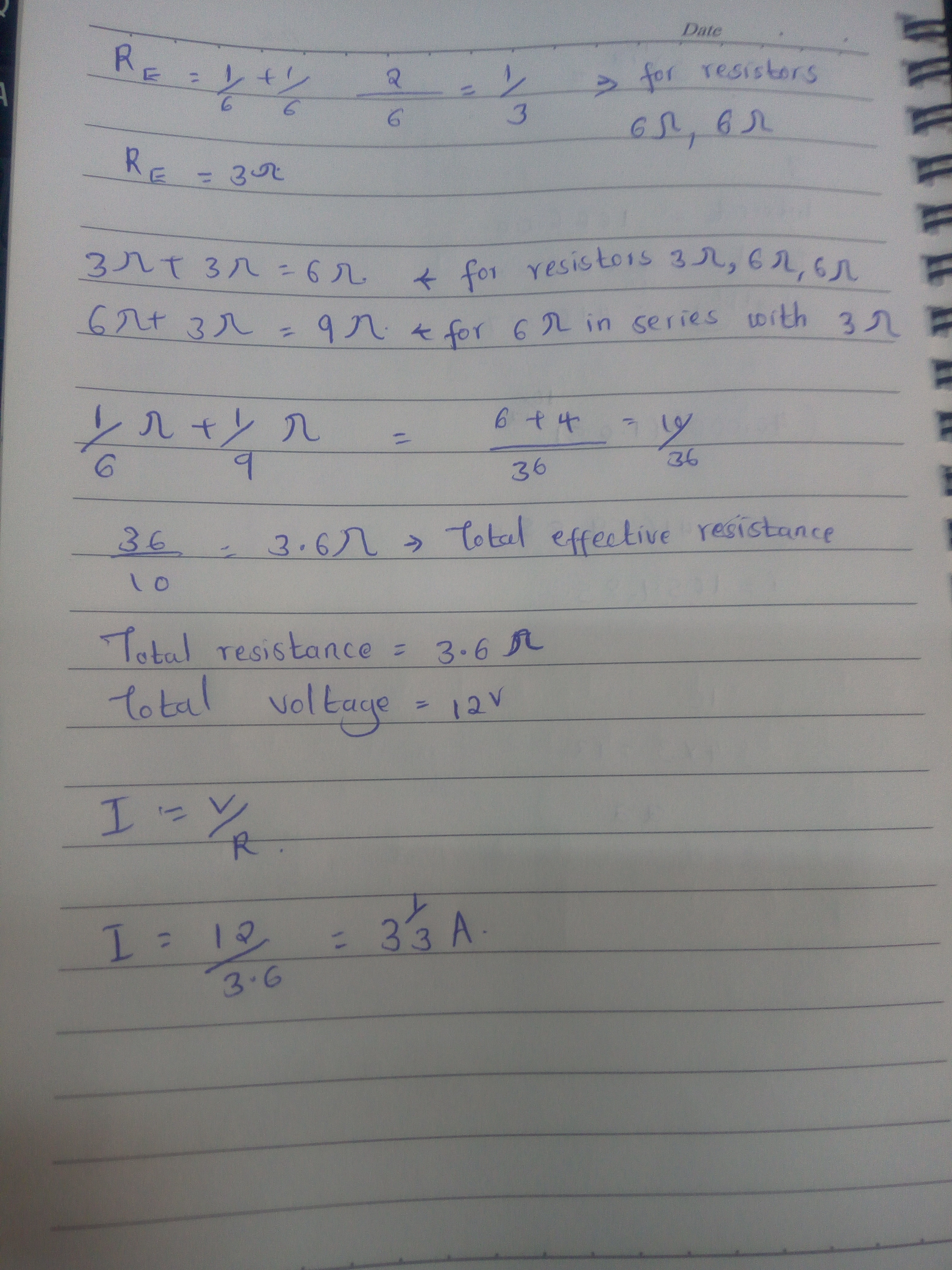 Calculate The Total Parallel Resistance Rp In The Following Circuit
