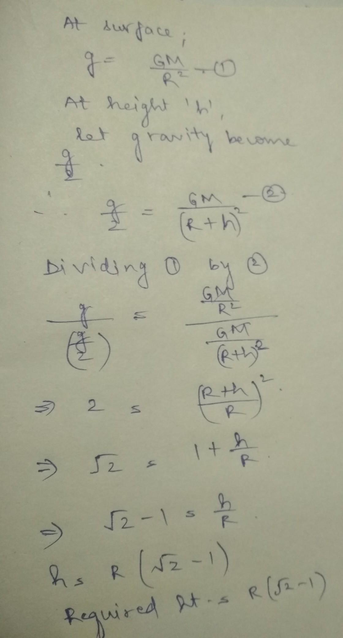 If G Is Acceleration Due To Gravity On The Surface Of