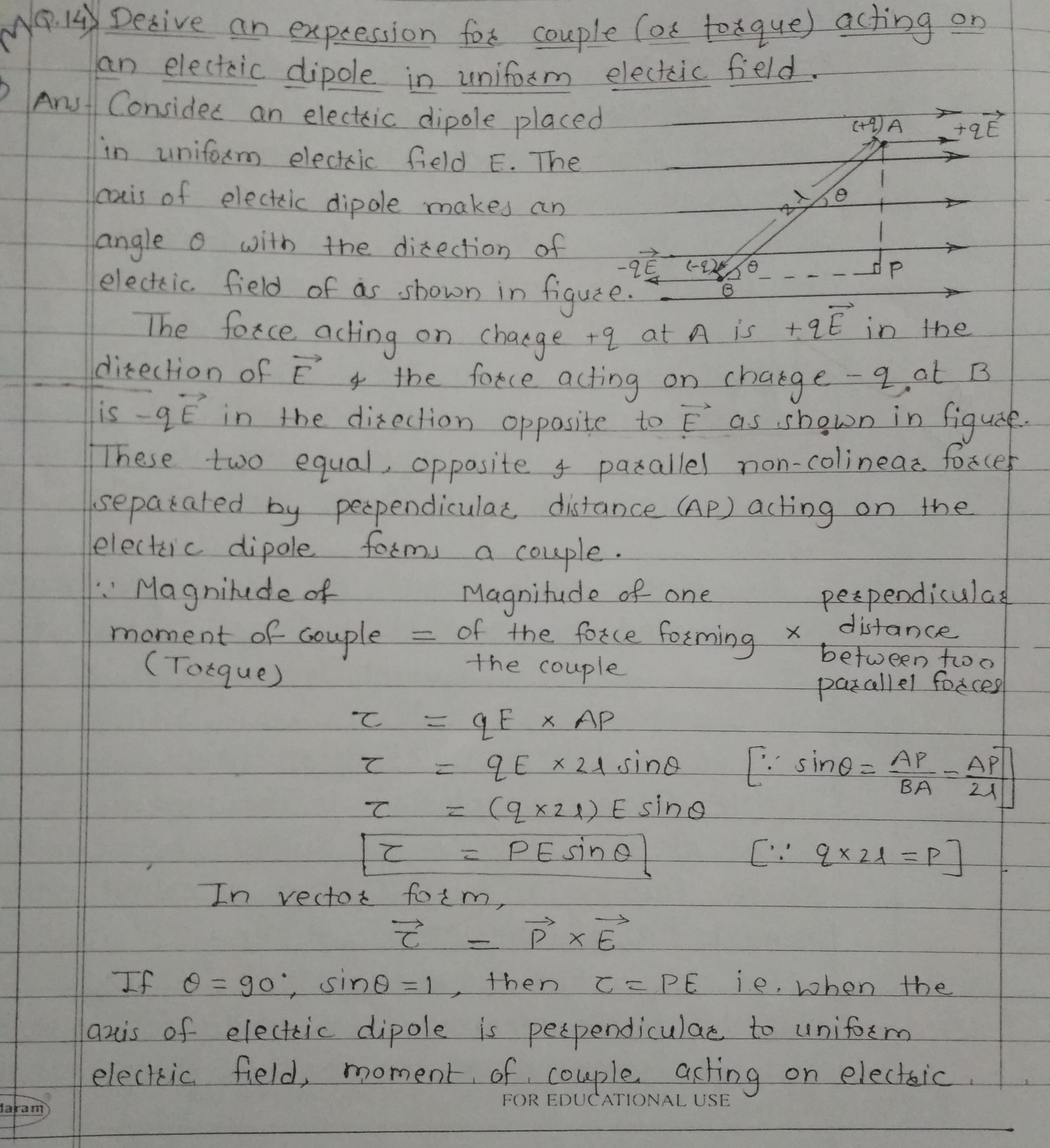 find the expression for the force and torque on an