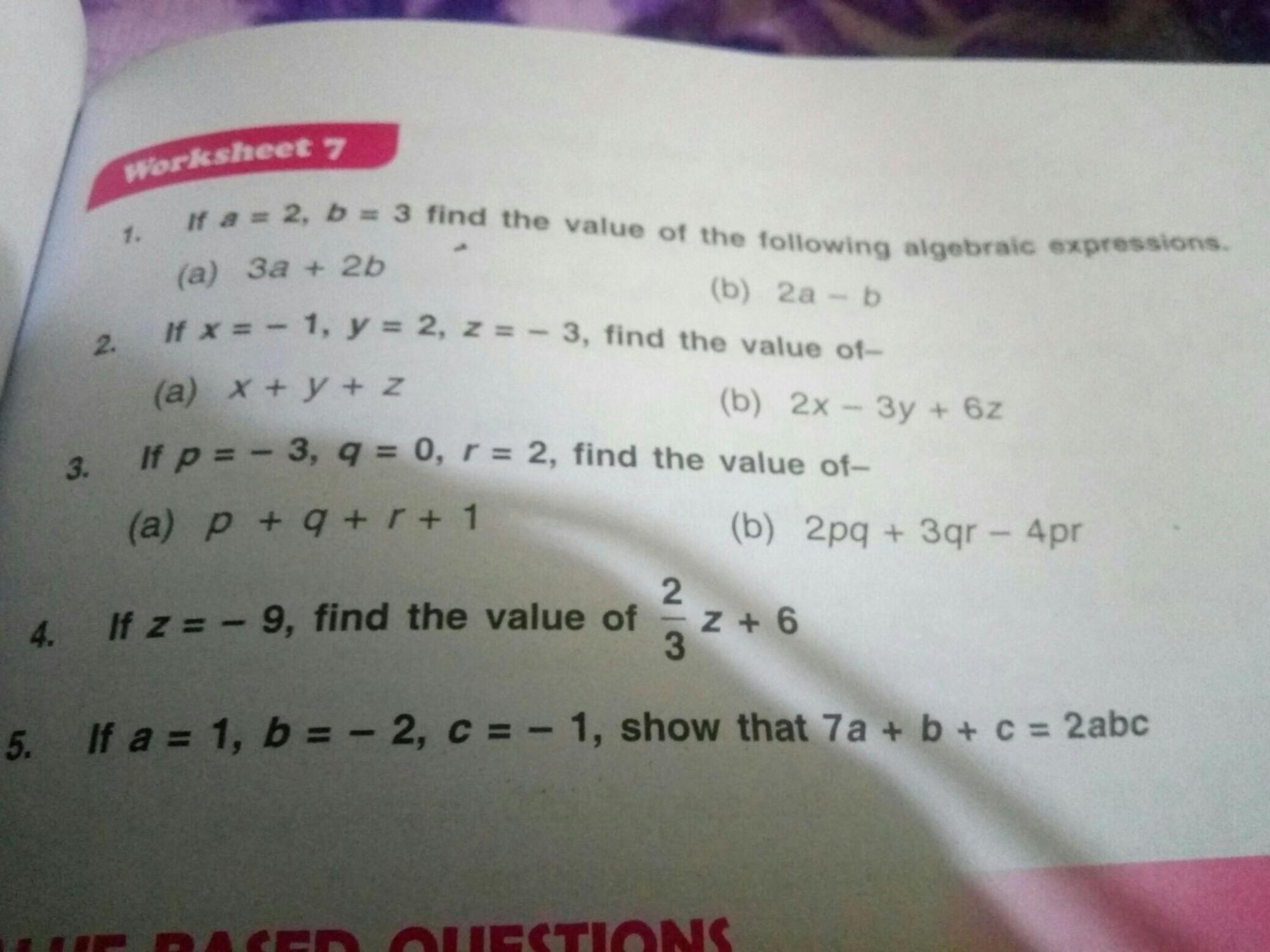 hight resolution of if a is equal to 1 b is equal to minus 2 C is equal to -1 show that 7 a + b  + C is equal to two ABC - Brainly.in