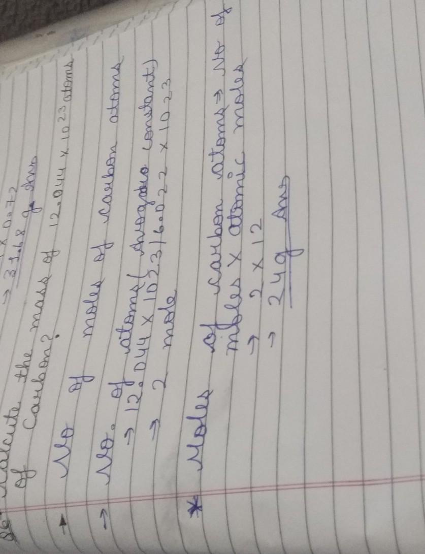 Calculate the mass of 12.044 ×10^23 atoms of carbon