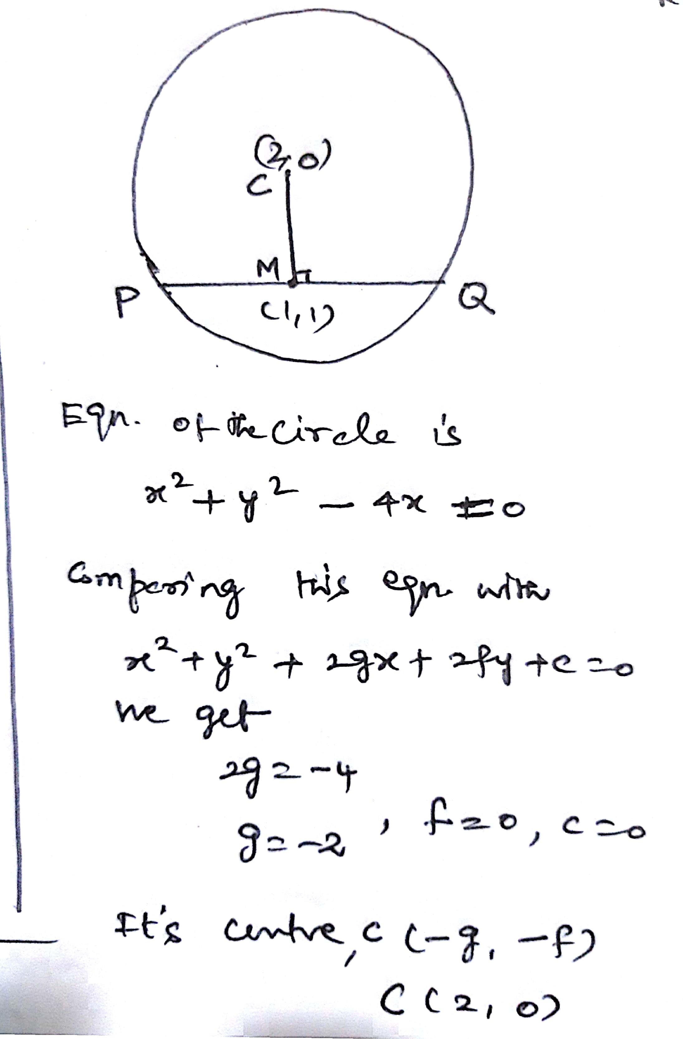 Find The Equation Of The Chord Of The Circle X 2 Y 2 4x 0