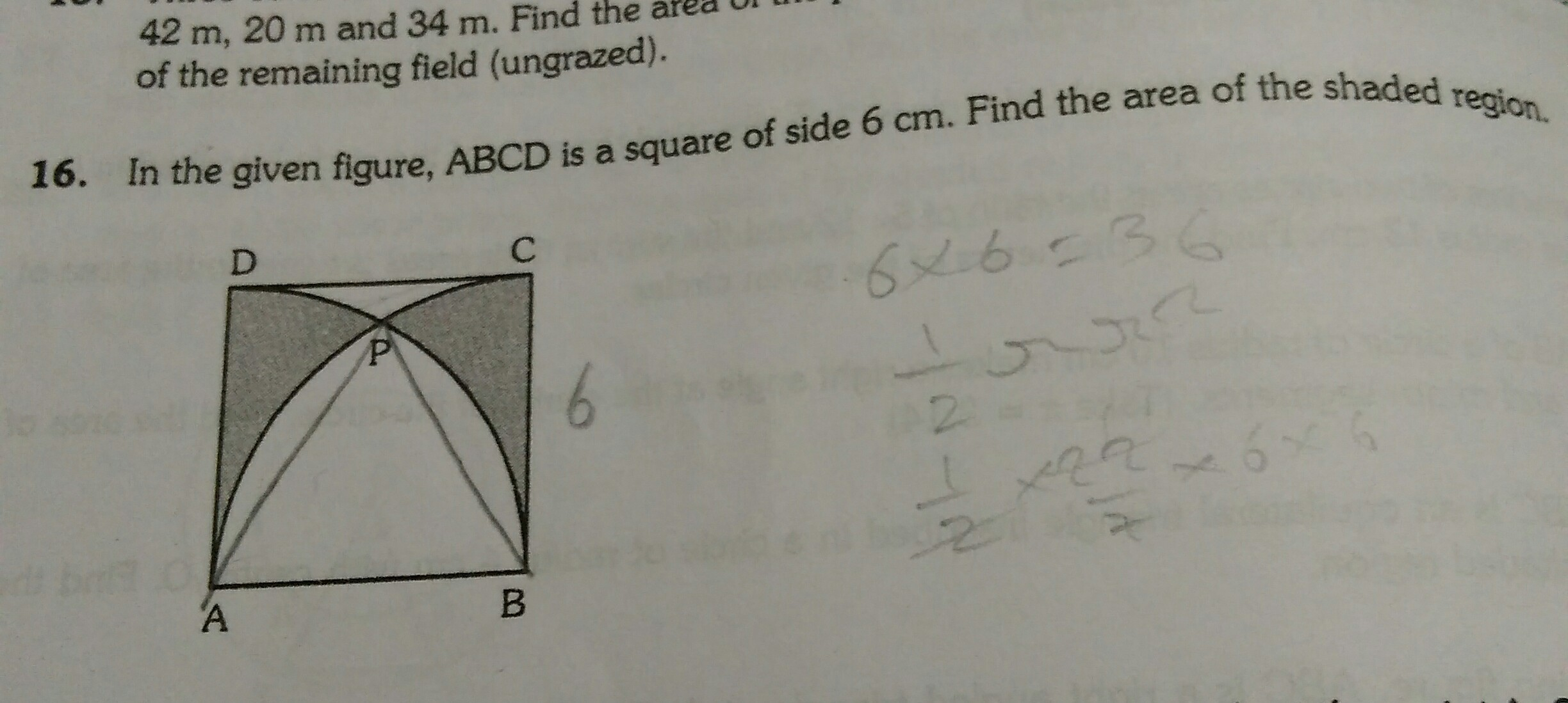 In The Given Figure Abcd Is A Square Side 6 Cm Find The