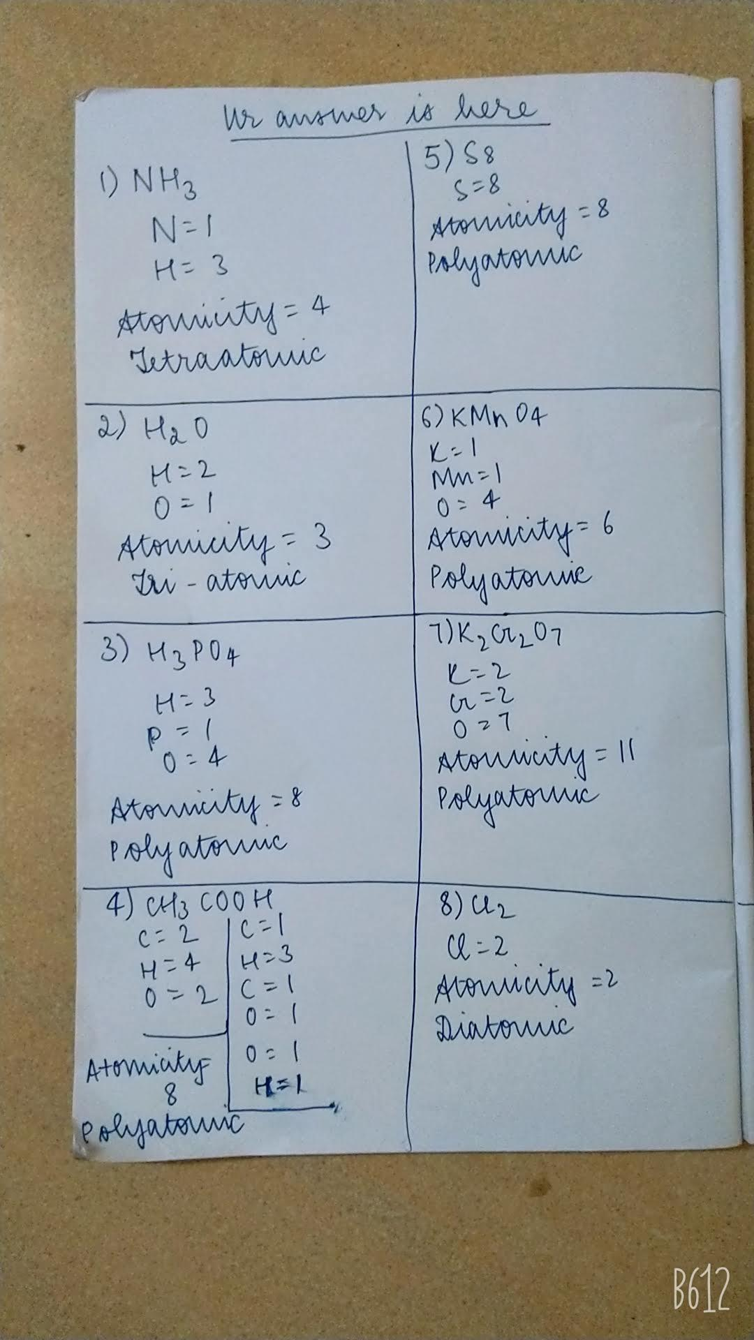 hight resolution of WORKSHEET - Class 9Atoms \u0026amp; MoleculesCalculate the atomicity of the  followingmolecules and classify - Brainly.in