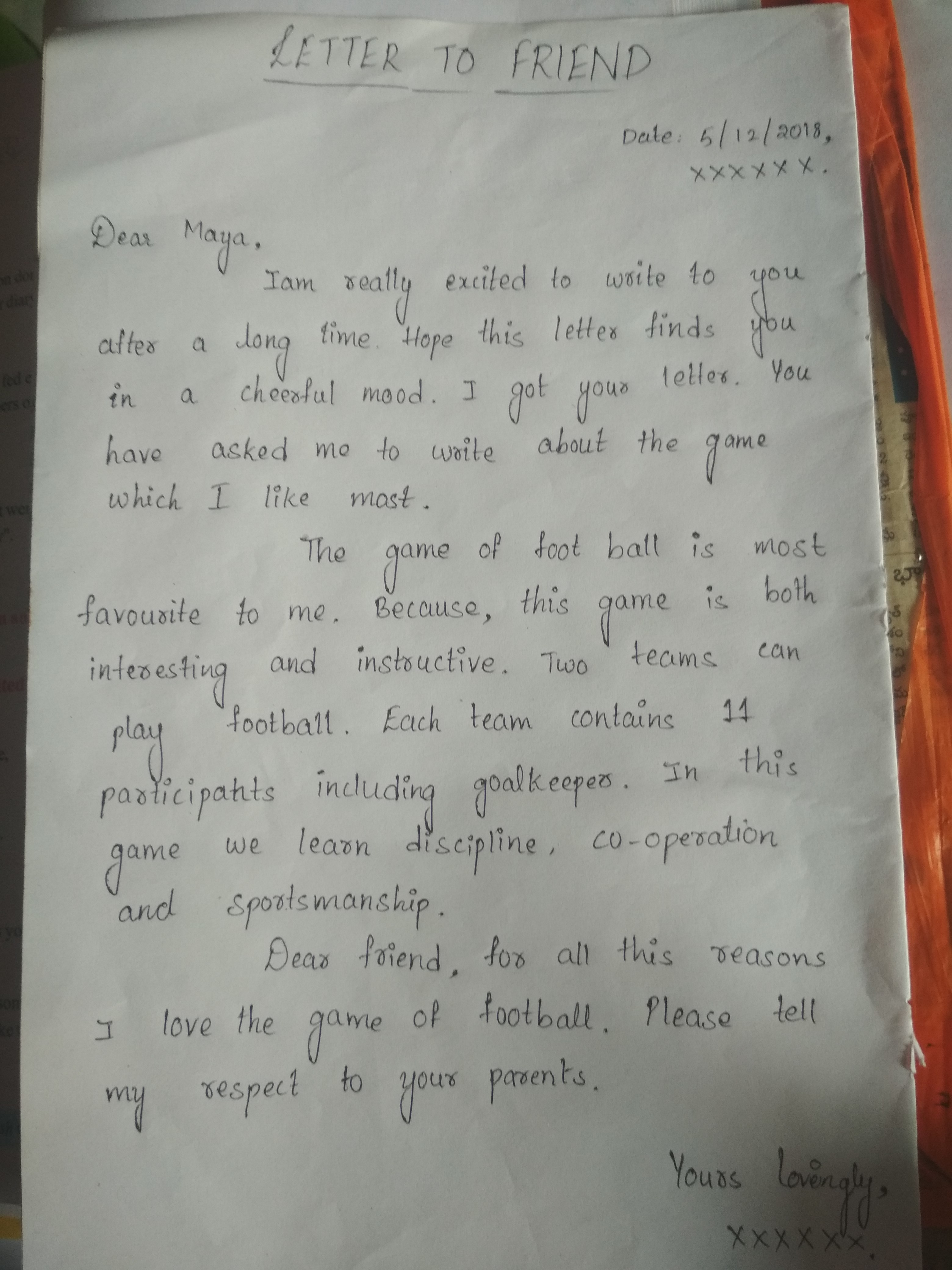 Write A Letter About Your Favourite Hobby