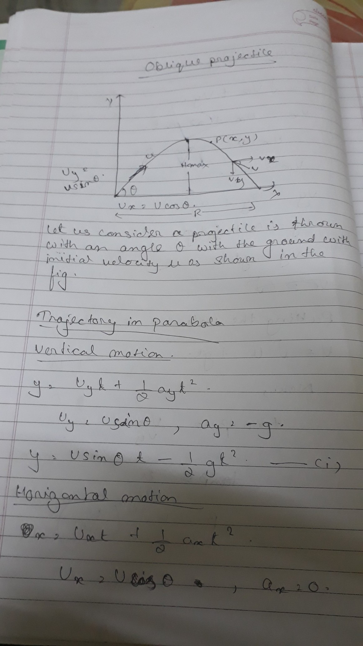 Show That The Path Of Projectile Is A Parabola In The Case