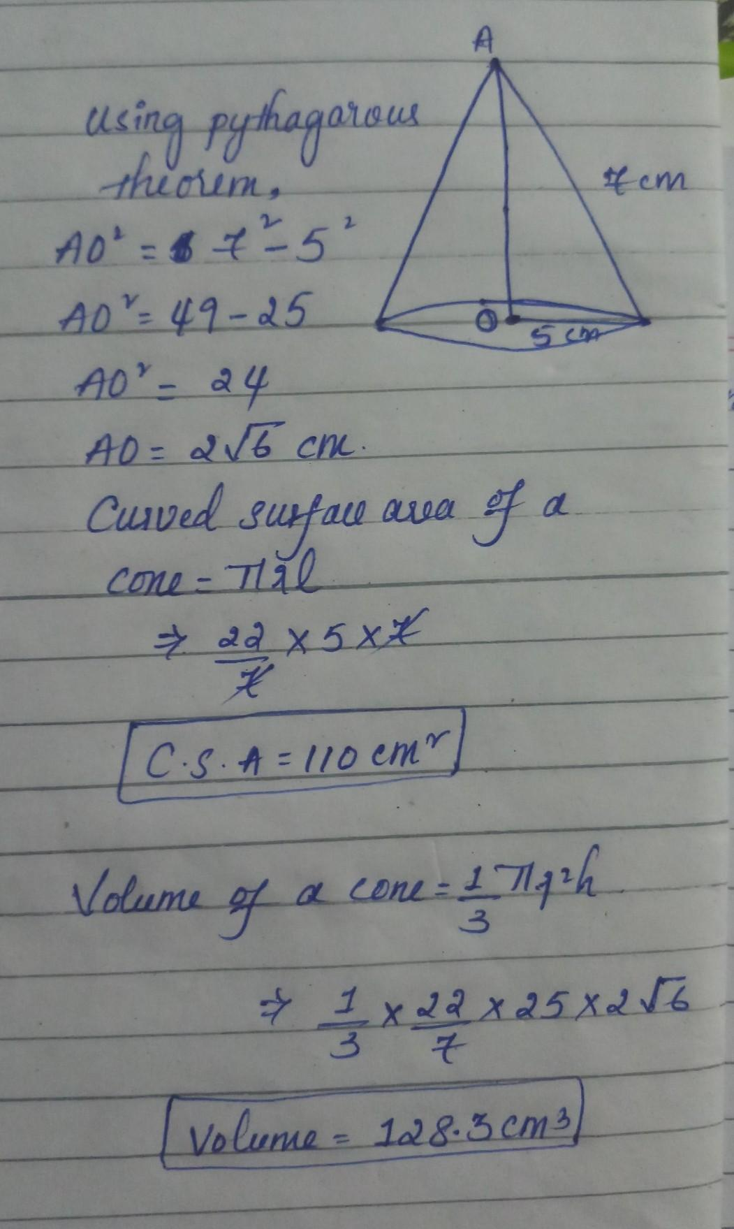 Find The Volume And Curved Surface Area Of A Cone Whose