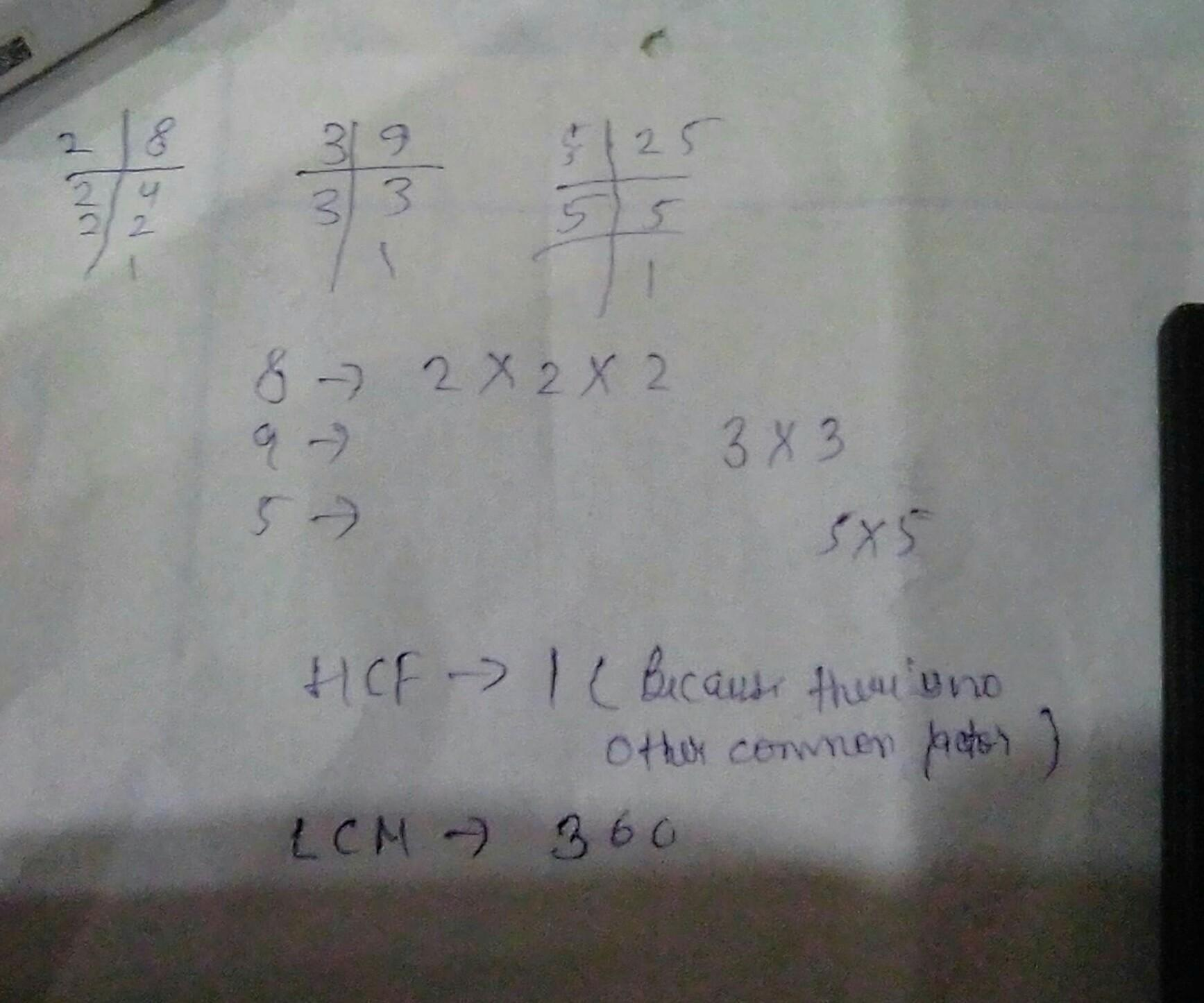 Find The Lcm And Hcf 8 9 25 By The Prime Factorization