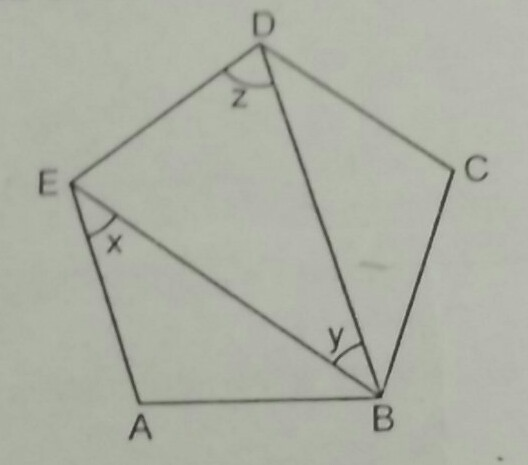 ABCDE is a regular pentagon in the shown figure find the