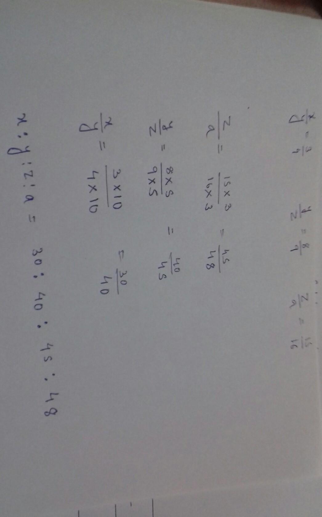 If x:y = 3:4 and y:z = 8:9, z:a is 15:16, find x:y:z:a