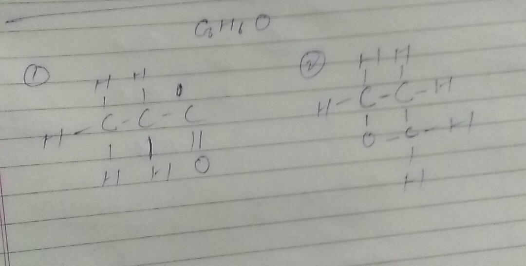 Draw 2 possible isomers of the compound with molecular