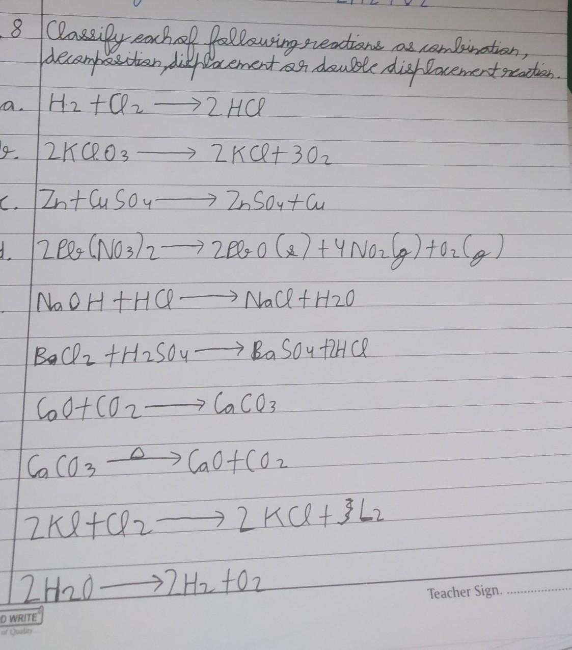 Classify Each Of Following Reactions As Combination