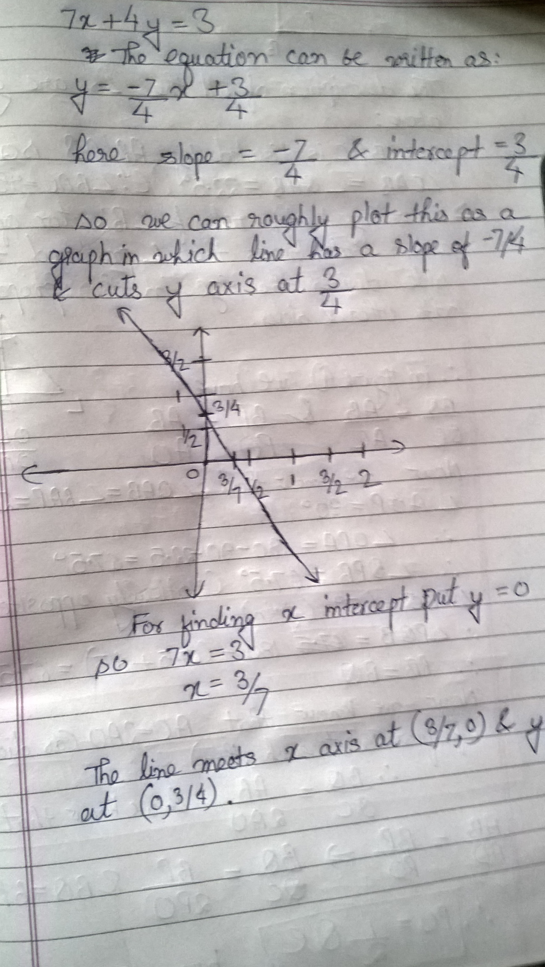 Represent 7x 4y 3 By A Graph Write Coordinate Points Were It Mit X Axis And Y Axises