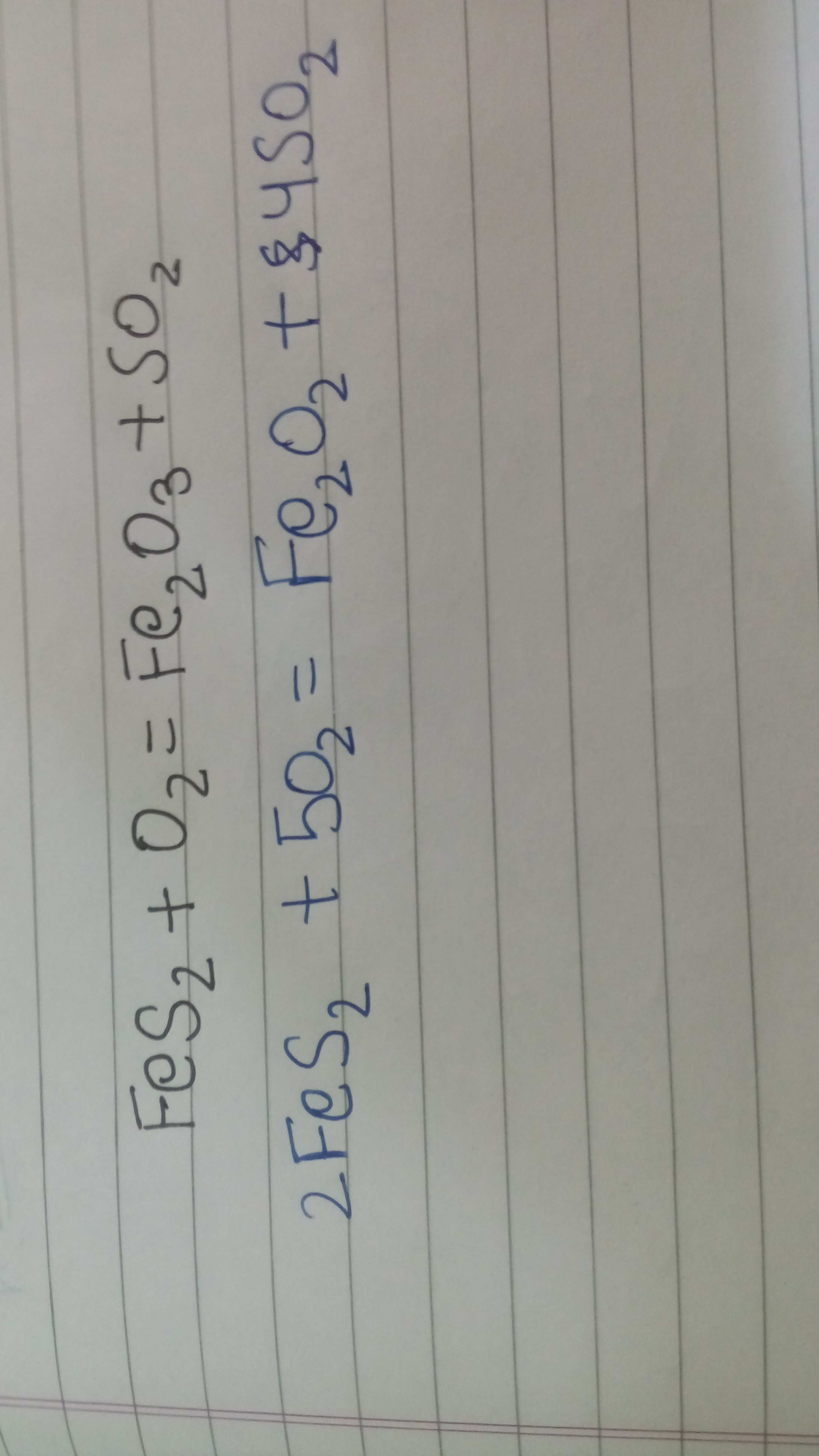 Balance this chemical equation . FeS2 + O2 → Fe2O3 + SO2 - Brainly.in