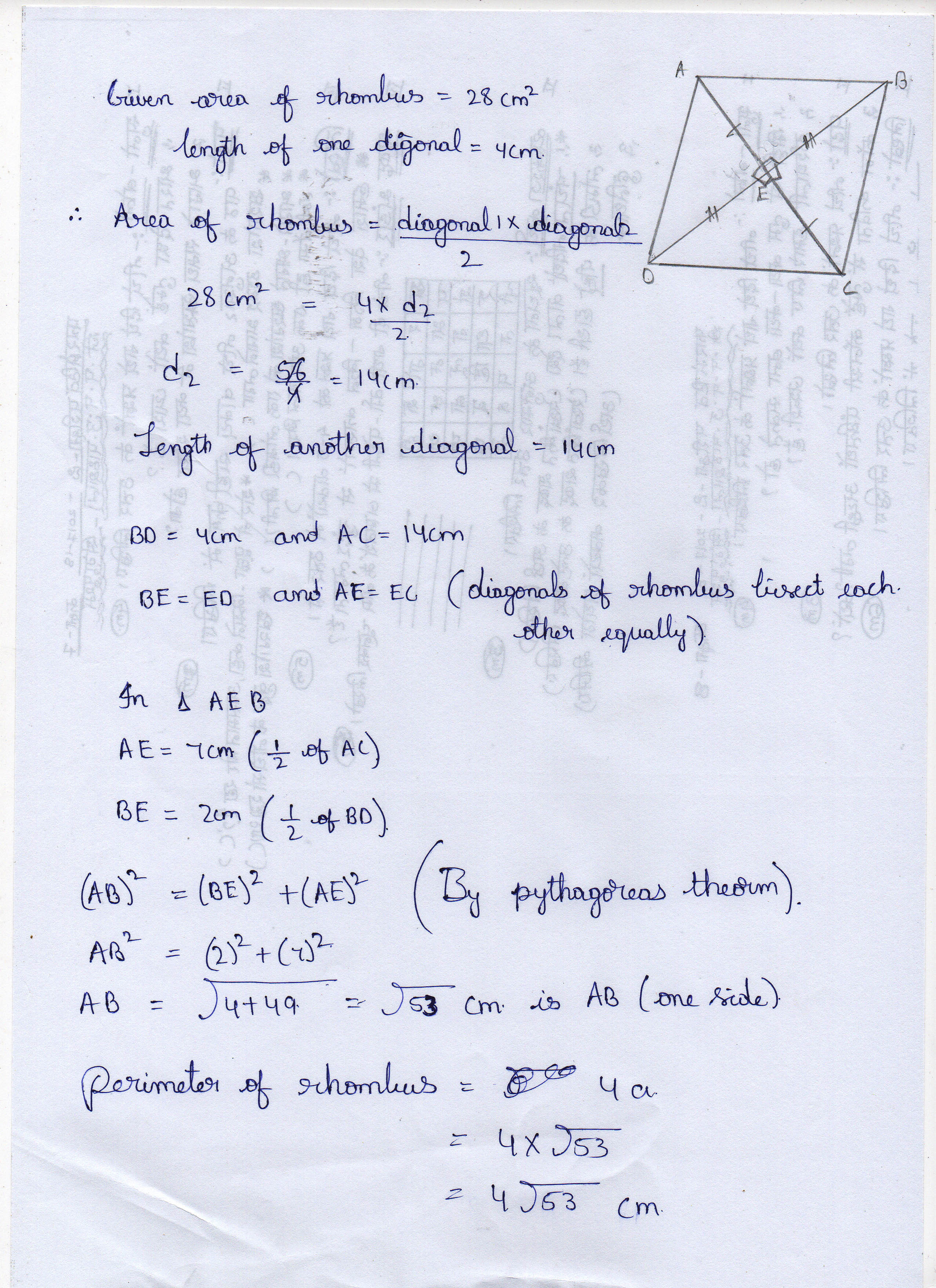 The Area Of A Rhombus Is 28 Cm And One Of Its Diagonal Is