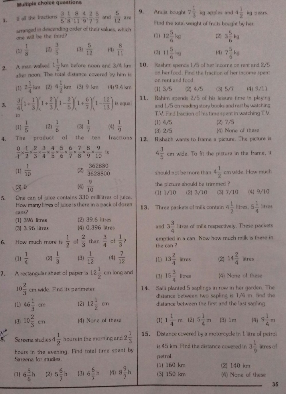 medium resolution of Class 7 fractions and decimals worksheet - Brainly.in