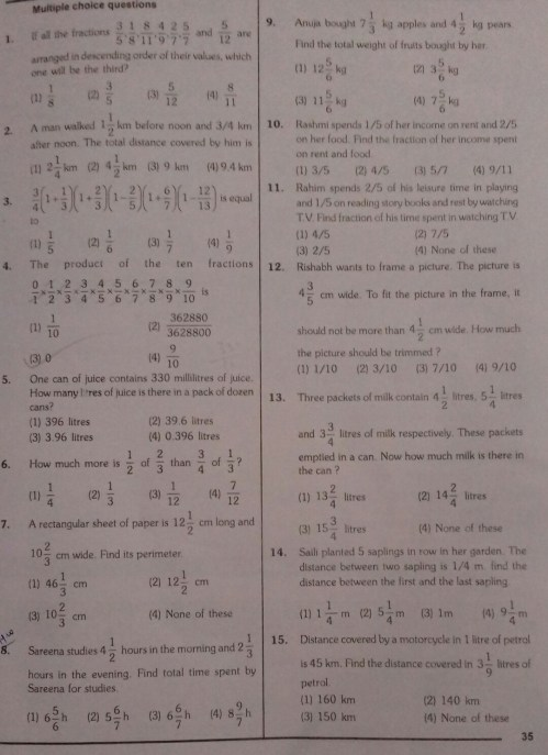 small resolution of Class 7 fractions and decimals worksheet - Brainly.in