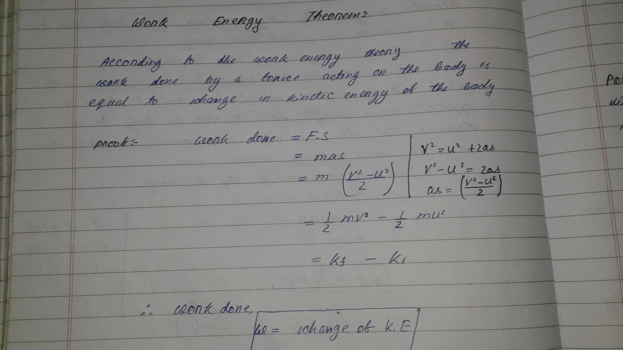 State And Prove Work Energy Theorem