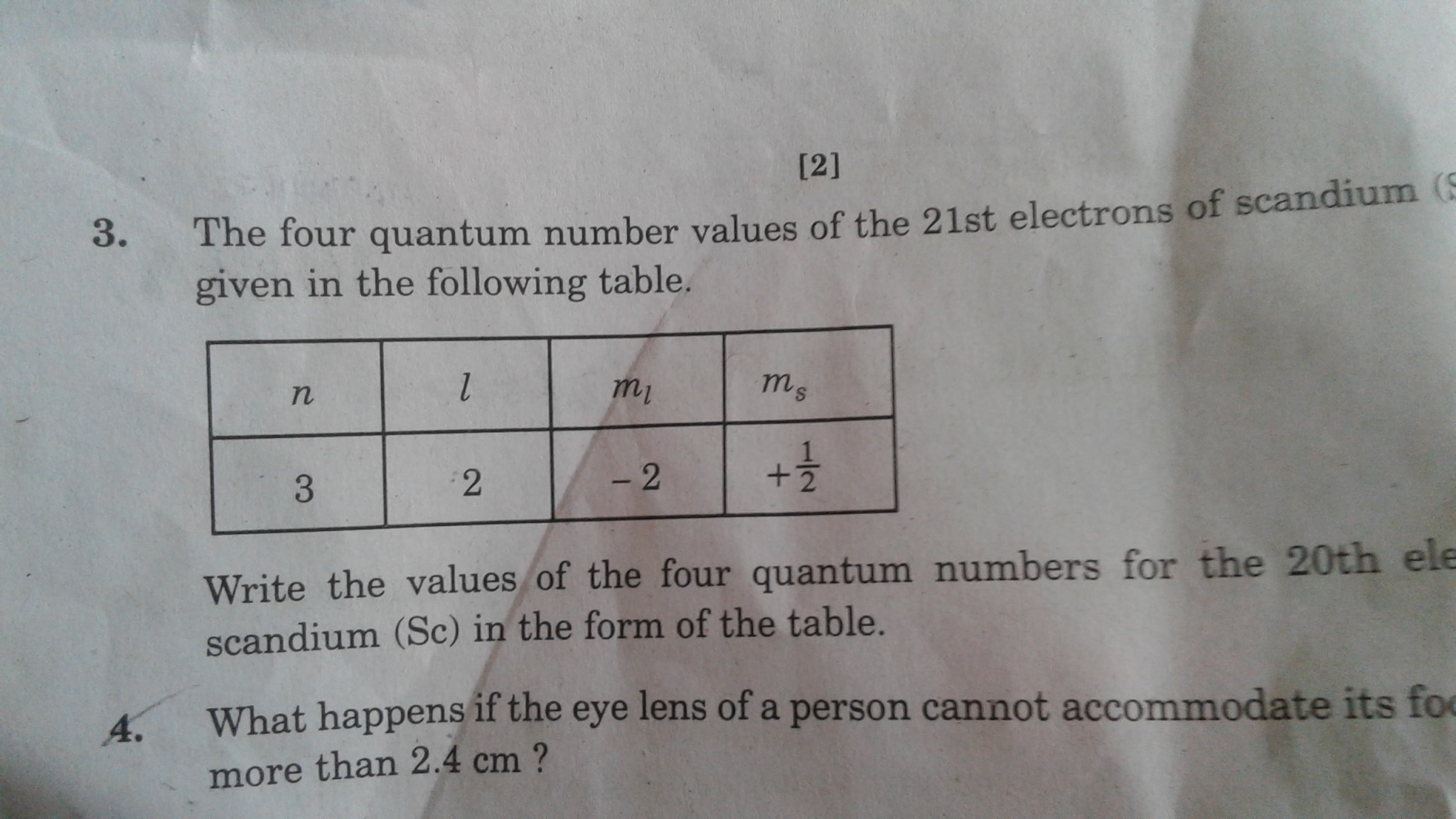 Write The Values Of The Four Quantum Numbers For 20th