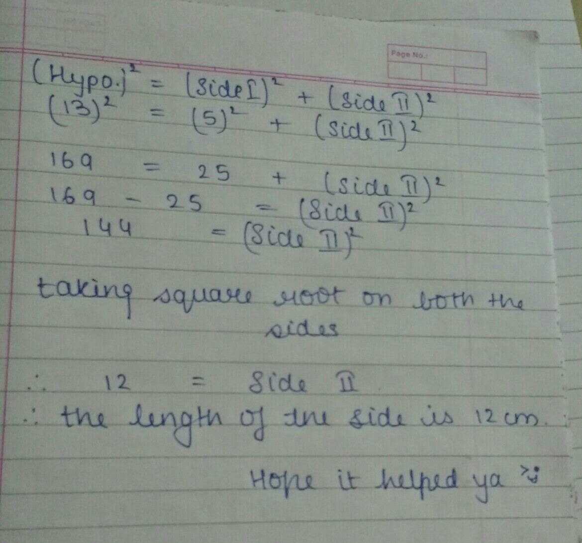 The hypotenuse and a side of a right angled triangle are