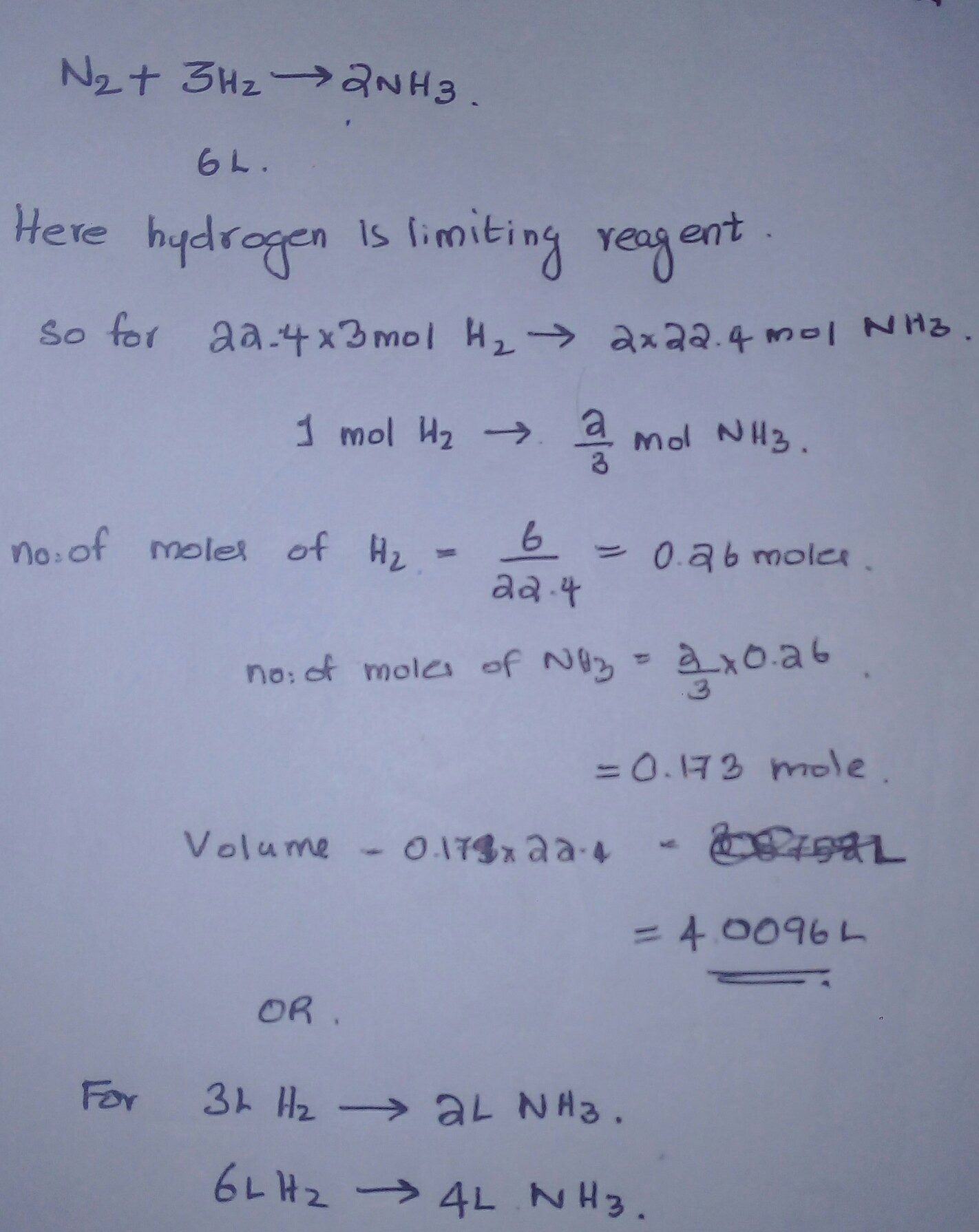 From Equation N2 3h2 2nh3 Calculate The Volume Of