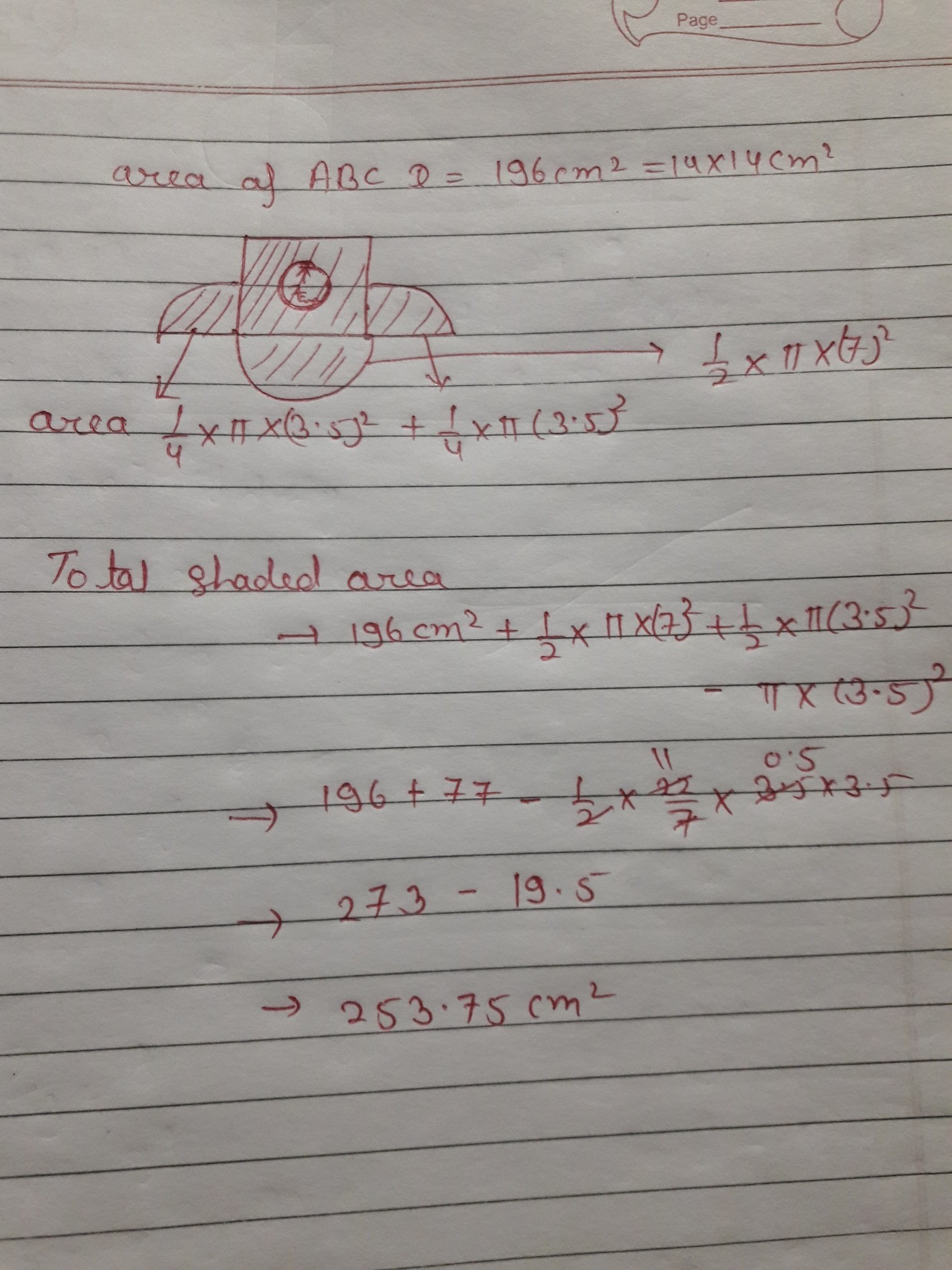 In The Given Figure Find The Area Of The Shaded Region