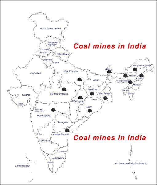 Mark the places in the map where coal petroleum and