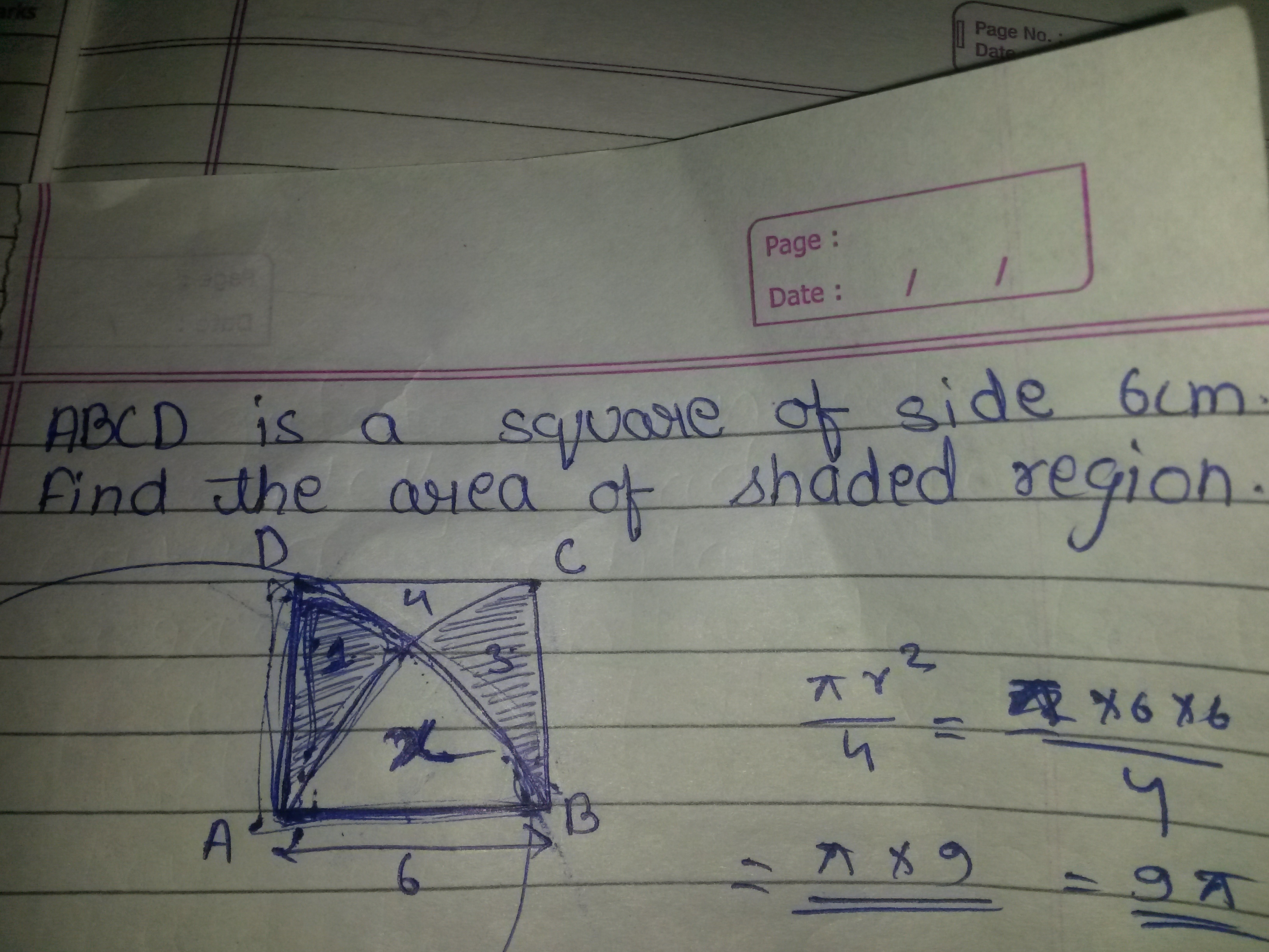 Abcd Is A Square Of Side 6cm Find The Area Of Shaded