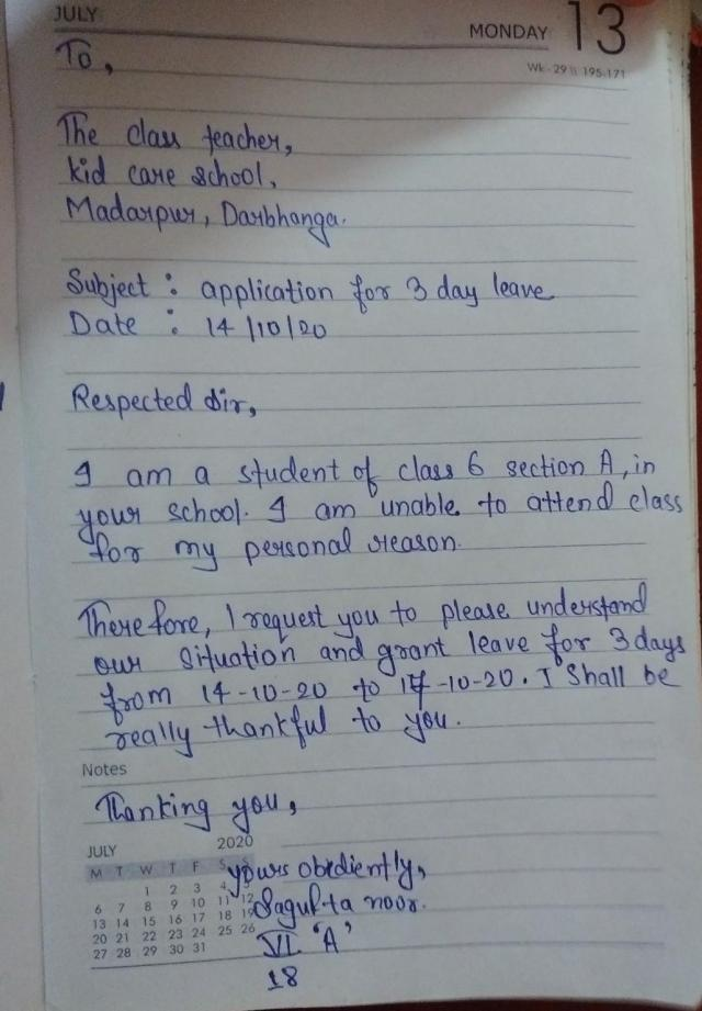 write a letter to your class teacher asking 17days leave for your