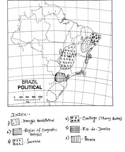 Fill the following in the given brazil outline map and