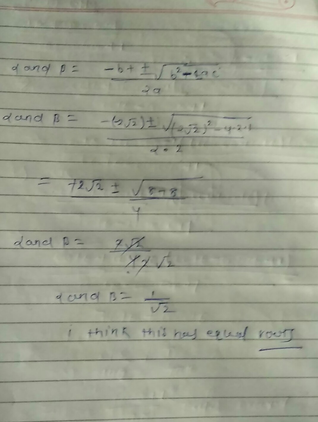 Find Roots Of Quadratic Equation 2x2 2 2x 1 0 Using The