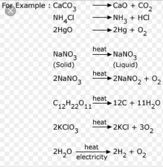 give an example of decomposition reaction and addition